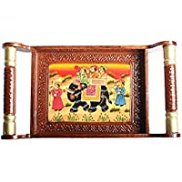 APKAMART Hand Crafted Traditional Wooden Tray - 16 Inch - Hand Painted Serving Tray For Table Decor, Utility And...