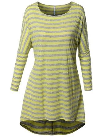 8c254dd962b3fb SJSP Women Boat neck Long Sleeve Stripes Tunics Top include plus size