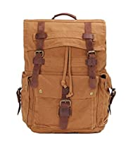 Retro Canvas Leather Casual Travel School College Hiking Daypack Laptop Backpack Rucksack