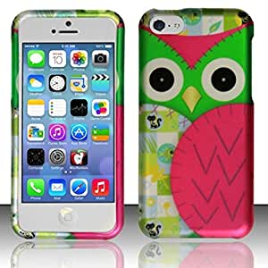 Zizo Rubberized Protective Cover Case for iPhone 5C - Retail Packaging - Owl Design
