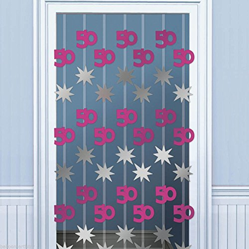Pink Shimmer 50th Door Danglers Decoration