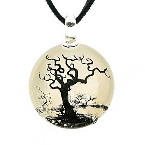 Hand Blown Murano Glass Tree Branch Silhouette White Black Art Pendant Necklace, 18-20'' (Italian Blown Glass Necklace compare prices)