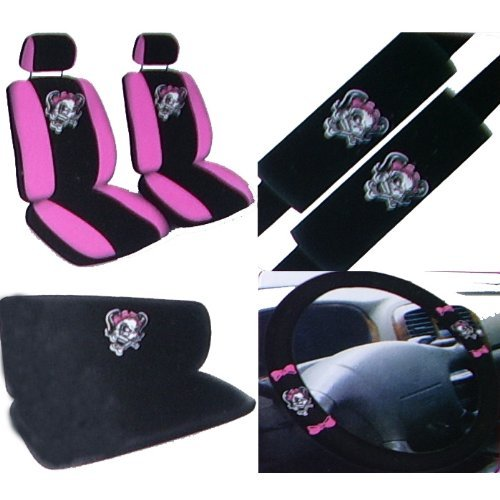 11pc pink lady skull auto accessories interior combo kit gift set. Black Bedroom Furniture Sets. Home Design Ideas