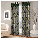 FASHIONFAB 2 Piece Polyester Long Door Curtain - 9ft, Green