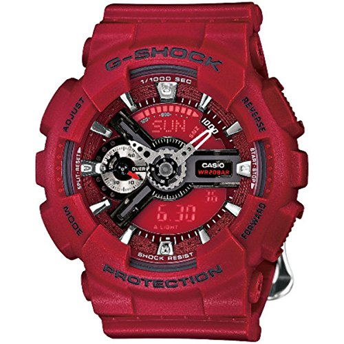 Casio G-Shock S Series Floral Red Dial Resin Quartz Ladies Watch GMAS-110F-4A (Casio Red Dial Watch compare prices)