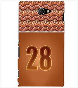 PrintDhaba Numerology Number 28 D-3663 Back Case Cover for SONY XPERIA M2 (Multi-Coloured)
