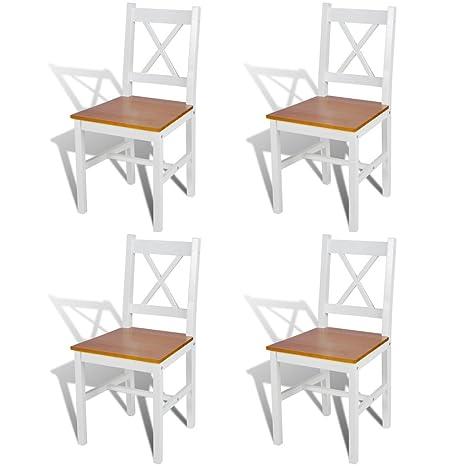 4 sillas de comedor hechas de madera de pino, colores blanco y natural