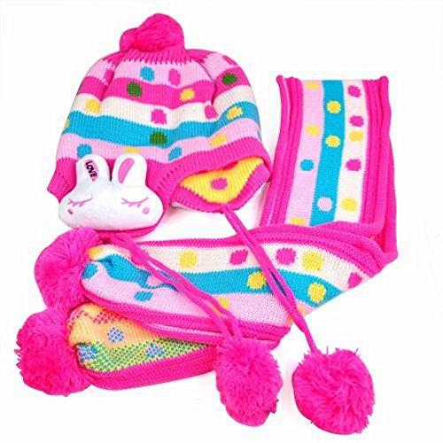 Topro Lovely warm mit Ohrenklappen Bunny Ohrenschützer Beanie Hat Cap + Schal Set für Baby Gr. One Size, Rot
