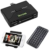 IKross Multi-Function Micro-USB to OTG / SD Memory Card Reader + Portable Collapsible Desk Stand + Bluetooth Wireless Mini Keyboard for Samsung Galaxy S4, Galaxy S3, I9100 Galaxy S II, Galaxy Note 2, Galaxy Note N7000, Galaxy Nexus and more