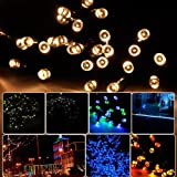LycheersSolar Christmas String Light 11m 60 LED Wedding Party Xmas Garden Fairy Lights Waterproof (Warm White)