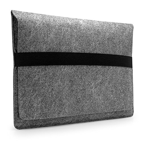 "Lavievert Handmade Gray Felt Case Bag Sleeve Protector With Black Eslastic Band For Apple 11"" Macbook Air front-482744"