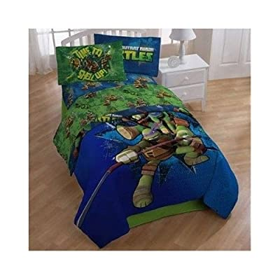 Kids Blanket Set, Teenage Mutant Ninja Turtle Comforter and Sheet Set. 4 Piece Bedding Set for Children Twin Beds. Children's Blanket Set