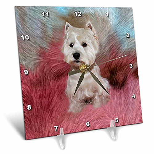 3dRose dc_4054_1 Westie-Desk Clock, 6 by 6-Inch