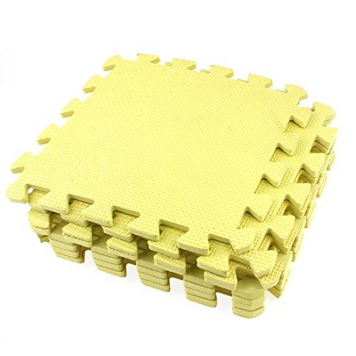 Matelas en mousse EVA puzzle à imbriquer jaune 28cm x 28cm (9 pièces)