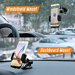 OMBAR Universal Car Cradle with Suction Cupe Car Mount for iPhone,Samsung ,Black