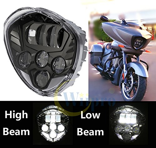 Wiipro 60W Cree Black Headlamp Chrome Driving LED Lights for Victory Cross-Country Motorcycle Headlight (Motorcycle Driving Lights Chrome compare prices)