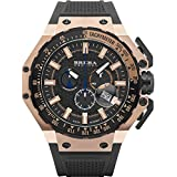 Brera Orologi BRGTC5408 Gran Turismo Swiss Made Ronda 5030.D Dial Rose Gold Tone Black Rubber Strap Watch (Color: Black with Rose Gold tone, Tamaño: Large)