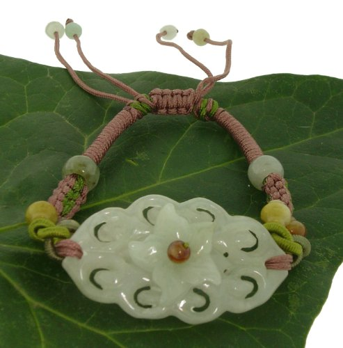 Lively and Colorful Three Dimensional Flower Knot Carving Large Pendant Jade Bracelet to Represent Union of a Marriage, Relationship, or Friendship Made with Lavender Cord