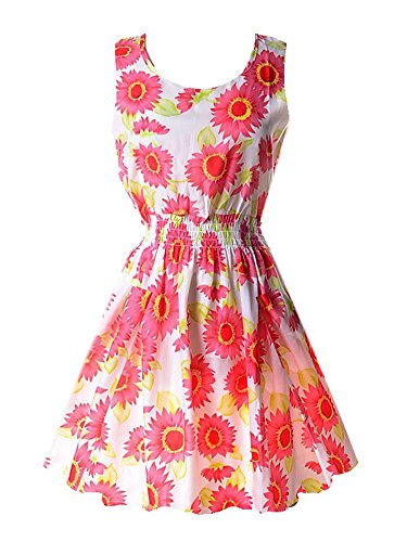 PAKULA Women's Casual Summer Fit and Flare Floral Sleeveless Dress