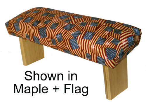 Folding Prayer Bench, Patriotic Edition Maple meditation bench upholstered in American Flag fabric to enhance your prayer time.