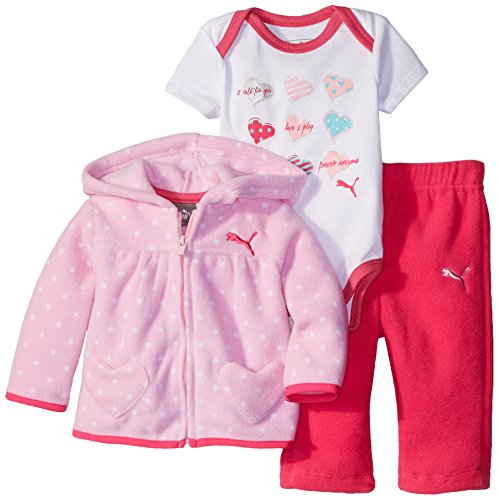 PUMA Baby-Girls Newborn 3 Piece Hooded Polka Dot Jacket Bodysuit and Solid Pant, Pink Glo P, 3-6 Months