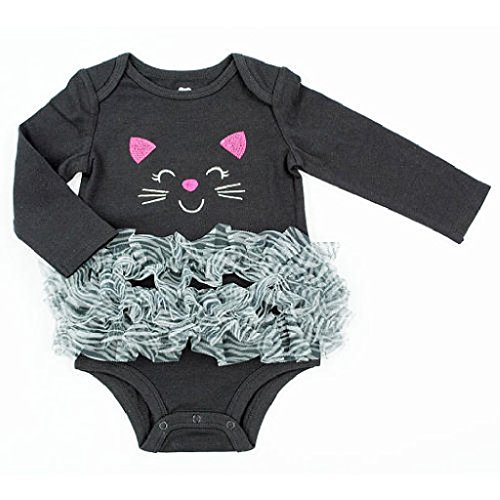 Embroidered Kitten / Cat Halloween Baby Girls' Bodysuit Tutu Dress Up Outfit