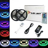 ALED LIGHT® 2x5M LED Strip 5050 SMD 150 LED RGB Lichtbänder Flexible LED Streifen Band mit 6A EU Power Supply Adapter+44 Key Colours IR-Controller. Ideal für Garten