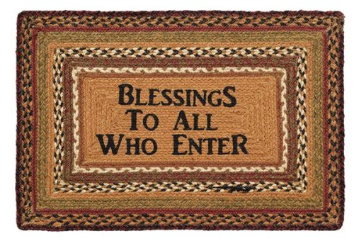 """Country Style Black, Rust, Cream, Burnt Orange, Green, Brown Jute Rug Rect Stencil """"Blessings"""" 20X30"""""""