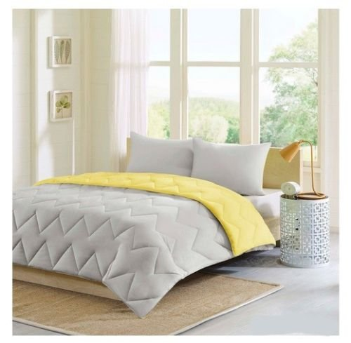 New Bed Bag Twin Xl Full Queen King 3 Pc Gray Yellow Chevron Comforter Shams Set front-955073
