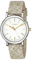 Timex Women's TW2P63700AB Originals Two-Tone Watch with Brown Fabric Strap