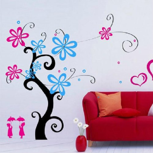 Love Tree Heart Flowers Removable Wall Stickers