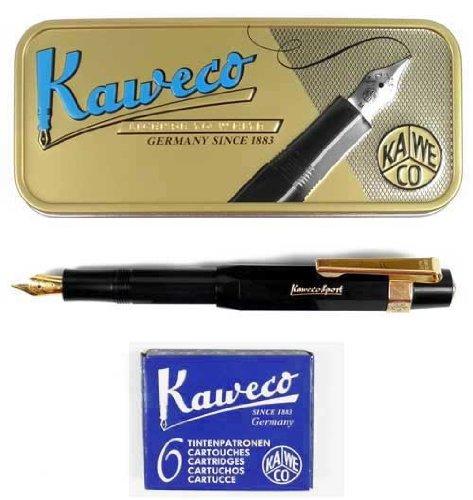 Kaweco Sport Classic Stilografica Nera, M-Penna, + Cartucce + Clip