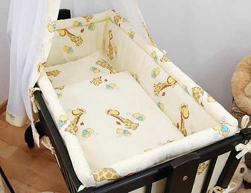 Baby Comfort | 5 Piece Crib Bedding Set fits Crib / Cradle 90x40cm - GIRAFFE CREAM