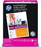 HP Multipurpose Ultra White, 20lb, (8.5 x 11)inch, 3-Hole Punched, 96 Bright, 500 Sheets/1 Ream (113101)