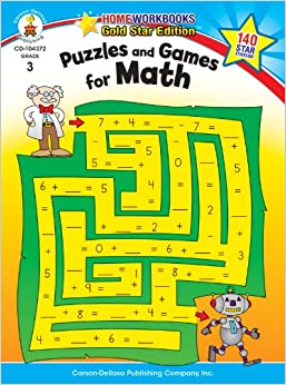 Puzzles and Games for Math, Grade 3: Gold Star Edition (Home Workbooks