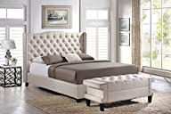 Baxton Studio Norwich Linen Modern Platform Bed with Bench, Queen, Light Beige