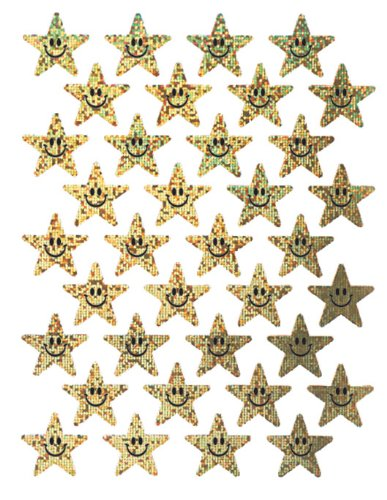 Eureka Smiling Stars Stickers, Gold