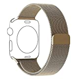Apple Watch Armband Series 1 Series 2 38mm Gold, PUGOTOP Magnetic Milanaise Armband Edelstahl...