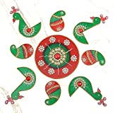 999Store Handmade Multicolour Wooden Rangoli Diwali Decorative Item, Home Décor Green Red
