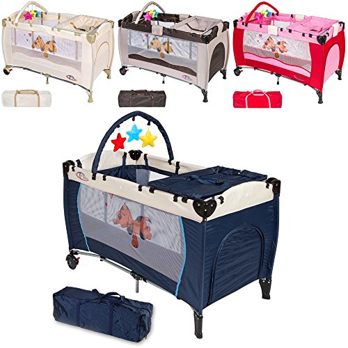 TecTake-Kinder-Reisebett-hhenverstellbar-mit-Babyeinlage-diverse-Farben-Navy-Blau