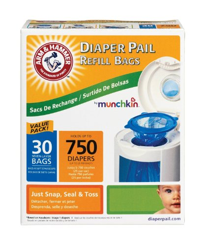Munchkin Super Size Value Package Arm & Hammer Diaper Pail Refill Bags -60 Bags - 1
