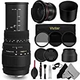 Sigma 70-300mm f 4-5.6 DG Macro Telephoto Zoom Lens + 58MM Essential Accessory Kit for CANON DSLR Cameras - Includes: Sigma 70-300mm Zoom Lens + Altura Photo 0.35x Super Fisheye Lens + Vivitar Filter Kit (UV - CPL - ND8) + Rubber Lens Hood + Lens Cleaning Kit + 2 MagicFiber Microfiber Cleaning Cloths