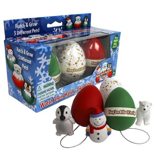 Christmas Ornament Grow Egg Hatchems - Hang 'Em and Hatch 'Em X-Mas Hatching Eggs - Grow Three Different Super Sized Pets!