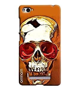 Omnam Golden Skelton Wearing Red Shades Printed Designer Back Cover Case For Xiaomi Mi4i