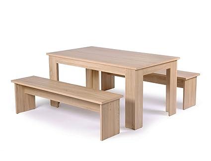 Tischgruppe Hamburg Esstisch 140x80 cm 2x Bank 140x45x37 cm Eiche Sonoma Sitzbank Esszimmer Kuche Wohnzimmer