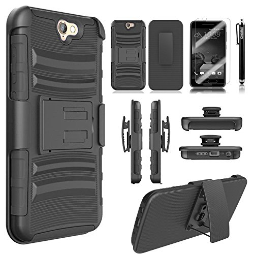HTC One A9 Case, Combo Rugged Shell Cover Holster with Built-in Kickstand and Holster Locking Belt Clip + Circle(TM) Stylus Touch Screen Pen And Screen Protector