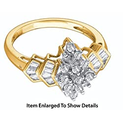 Stunning Yellow Gold 1/4 CTW Diamond Cluster Ring With Round And Baguette Cut Diamonds