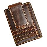 Le'aokuu Genuine Leather Magnet Money Clip Credit Case Case Holder Slim Wallet (Coffee)