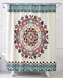 World Explorer Medallion Fabric Shower Curtain 72 inch by 72 inch Easy Care