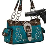 Turquoise Western Rhinestone Buckle Conceal and Carry Purse